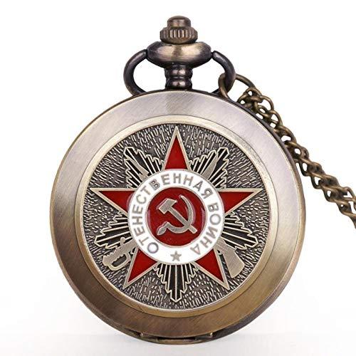JTWMY Retro CCCP sowjetische Flagge Hammer Abzeichen Sichel Taschenuhr Haken Design UDSSR Halskette Anhänger Uhr-Standard
