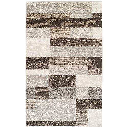 SUPERIOR Modern Rockwood Collection Area Rug, Modern Area Rug, 8 mm Pile, Geometric Design with Jute Backing, Slate, 8' x 10'