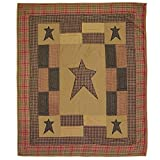 VHC Brands Stratton Quilted Throw 60x50 Primitive Country Patchwork Design, Tan and Red-Orange