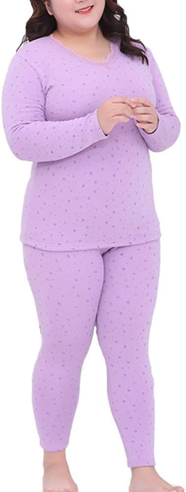 BIXUYAO Women's Soft Thermal Underwear/Fleece Lined Winter Set Base Layer Long John Top Suitable for Indoor and Outdoor,Purple,XL