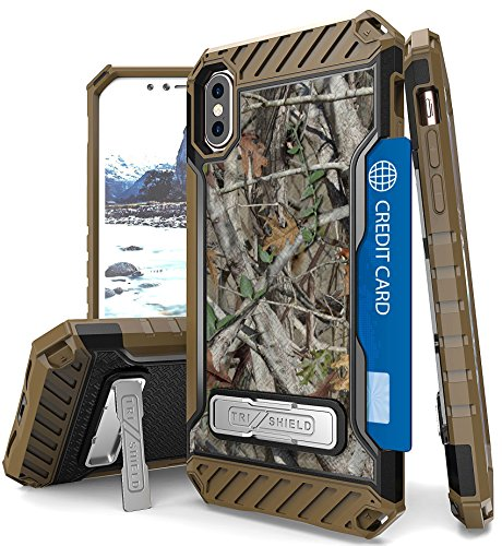 iPhone X Camo Case, Autumn Camouflage Tree Leaf Real Woods Rugged Hunting Cover [with Magnetic Kickstand and Credit Card Slot] for Apple iPhone 10 [Bonus Lanyard Strap + Screen Protector Included]