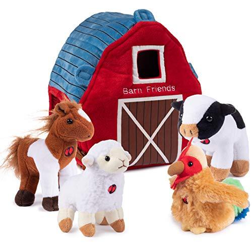 Plush Creations Plush Farm Animals for Toddlers with Plush Barn House Carrier. Animal Farm Set Includes 4 Talking Soft Cuddly Plush Stuffed Animals  A Plush Cow Plush Horse Plush Lamb Plush Rooster