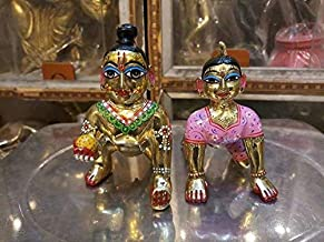 VRINDAVANBAZAAR.COM ISKCON Laddu Gopal with Radharani Kishori Ji Metal Deties 2 Inches