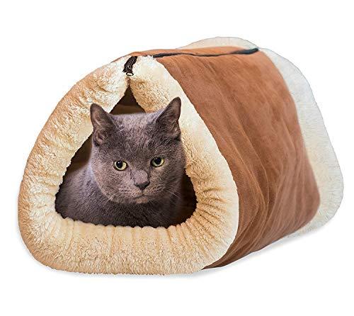 Greenfields Deluxe 2 in 1 Tube Cat Mat and Bed, Groot Huisdier Bed met Zelfverwarming Thermal Core Meubilair & Tapijten Fur-free Warm Huis voor Katten/Puppy, Pluche Huisdier Accessoires