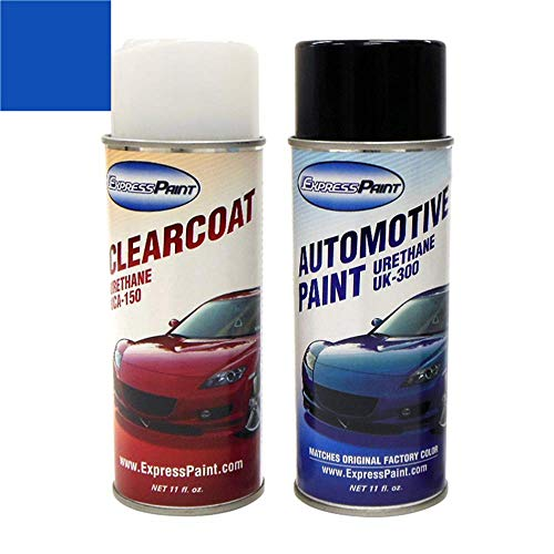 ExpressPaint Aerosol - Automotive Touch-up Paint for Nissan 350Z - Daytona Blue Pearl Metallic Clearcoat B17 - Color + Clearcoat Package