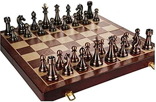 Juego de tablero de ajedrez Staunton Juego de ajedrez de madera plegable, juego de tablero de ajedrez con pieza de ajedrez y ranuras de almacenamiento, gran juego de ajedrez de regalo de juguete de vi