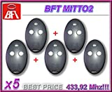 5 x BFT MITTO 2, 2 canales Mando a Distancia, 433,92 MHz Rolling Code