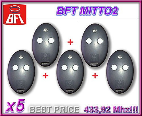 5x BFT Mitto 2, 2-Kanal-Fernbedienung, 433,92MHz Rolling Code