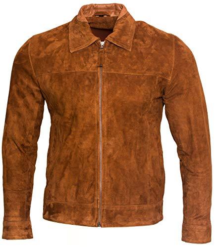 Infinity Leather Herren Retro Bräunen 100% Ziegenleder Wildleder Harington Radfahrer Jacke S