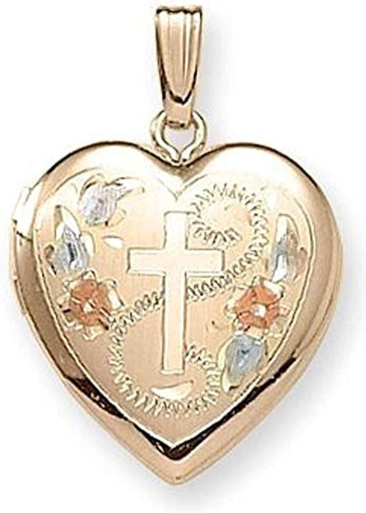PicturesOnGold.com 14K Gold Filled Cross Heart Locket - 3/4 Inch X 3/4 Inch with Engraving