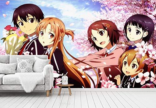Blovsmile Sword Art Online Kirito/Yuuki Asuna 3D Fotomural Papel tapiz Póster Habitación de los niños Sala de estar Decoración Mural-400 * 280