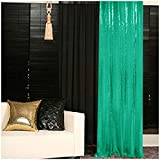 Pack of 2 Green Backdrop 2FTx7FT Curtain Chiristmas Green Sequin Photo Backdrop Glitter Backdrop Y1023