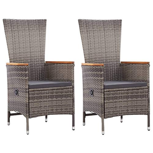 vidaXL 2X Gartenstuhl mit Kissen Gartensessel Stuhl Sessel Hochlehner Rattansessel Gartenmöbel Rattanstuhl Stühle Poly Rattan Grau