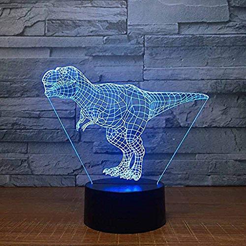Kleurrijk Nachtlampje, Opladen Via Usb Creativiteit Led 3D-Illusie-Effect Dimensionale Tyrannosaurus Rex Tafellamp (Acrylpaneel + Abs-Voet)