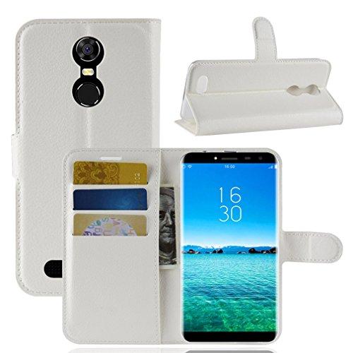 LMFULM® Hülle für OUKITEL C8 3G / 4G (5,5 Zoll) PU Leder Magnetverschluss Brieftasche Lederhülle Handytasche Litschi Muster Standfunktion Ledertasche Flip Cover für OUKITEL C8 Weiß