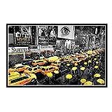IUYTRF Paraguas de la ciudad de Nueva York NYC Manhattan Taxis lluvia póster de seda pintura decorativa para pared -50X75 cm sin marco 1 Uds