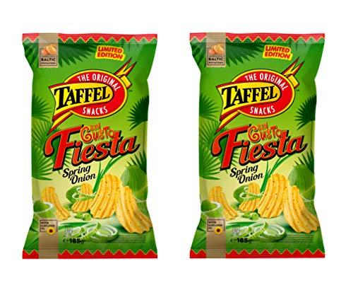 TAFFEL Papas fritas, crema agria y sabor a cebolla, 185 g - Pack de 2