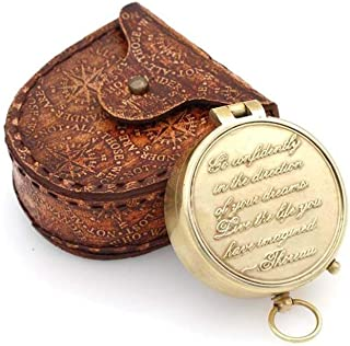 NAUTICALMART Thoreau's Go Confidently Quote Engraved Compass with Embossed Leather case