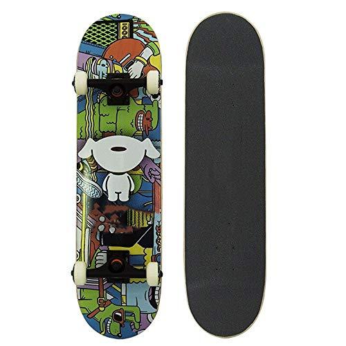 Zhicaikeji Skateboard Monopatín Completa Pro monopatín con Deportes al Aire Libre Duradero Patín Patineta (Color : Black, Size : One Size)