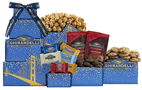Happy Holidays Ghirardelli Chocolate Gift Tower by Wine Country Gift Baskets