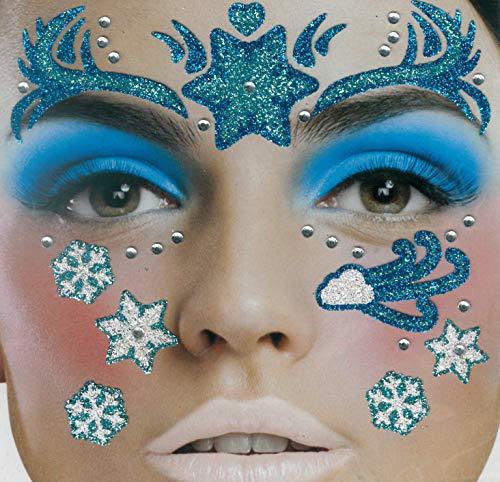 Brandsseller Gesichts-Tattoo EIS Prinzessin - Aufkleber Set Klebetattoos Temporäre Tattoos Halloween/Karneval Frozen Blau