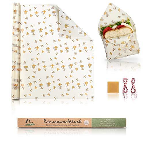 Amazy Envoltorio cera de abeja natual 100% (Rollo) | Alternativa sostenible al papel de aluminio y papel albal - Para frutas, verduras, pan, queso y otros alimentos | Rollo certificado por la LFGB.