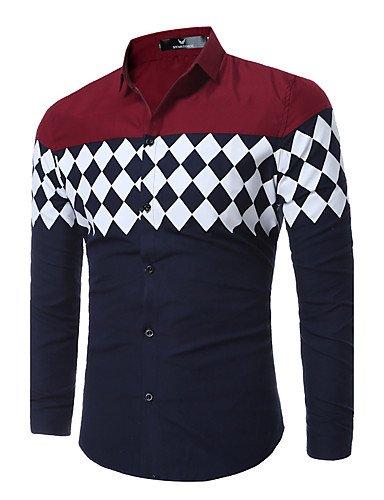 HAN-NMC Men's Aller/Simple Quotidien décontracté Chic Rue Printemps Automne Shirt géométrique,col Classique Manches Longues Polyester Coton Mince,L,Vin