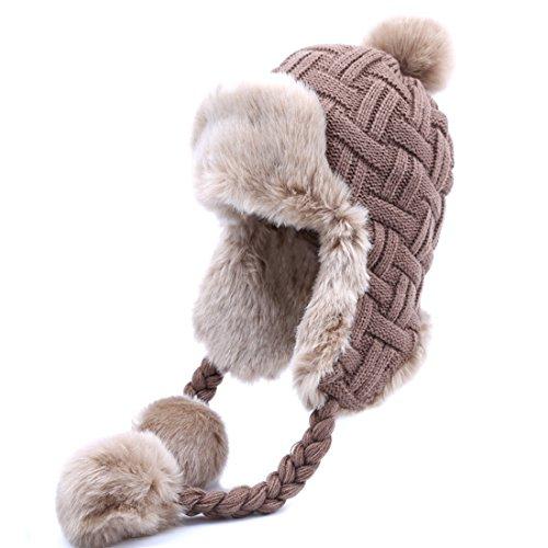 Kuyou Damen Winter Hut Ohrenschützer Trapper Warm Fellmütze (Braun)