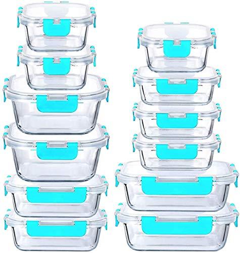 LYTIO - Juego de 24 recipientes herméticos y a Prueba de Fugas Reutilizables Resistentes a Manchas y olores con Tapas de Cierre a presión para microondas Horno lavaplatos y...