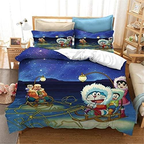 LIYIMING Ropa de cama Doraemon 3D Anime Juego de ropa de cama, 1 funda nórdica + 2 fundas de...