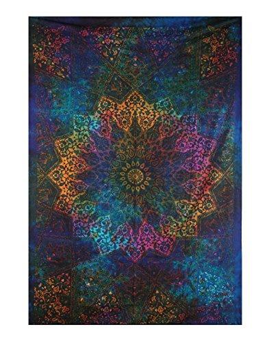 Plush Decor Tapisserie / Wandteppich / Wandbehang, Mandala-Design, Batik-Optik, toll für den Strand oder als Überwurf / Decke / Vorhang, blau