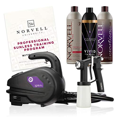Norvell Sunless Kit - M1000 Mobile HVLP Spray Tan Airbrush Machine + 8 oz Tanning Solutions in Ultra Vivid 'Cosmo', Venetian and Dark + Norvell Training Program (Retail Value $490) Packaging May Vary