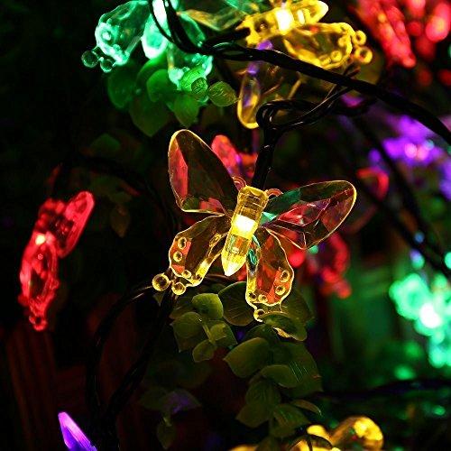 SALCAR 5 Meter Solar LED Lichterkette 20 bunten Schmetterlinge Deko Beleuchtung für Weihnachten, Party, Festen, 2 Leuchtmodi (RGB) [Energieklasse A++]