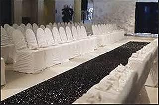 TRLYC 48Inch by 15FT Wedding Sequin Aisle Runner Marriage Ceremony Black Bridal Carpet Wedding Aisle Runner