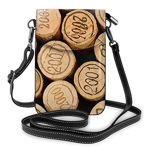 Monedero ligero de piel sintética para teléfono celular, tapón de botella de vino con pequeñas bolsas cruzadas vintage, bolso de hombro para mujer, color Negro, talla Talla única