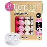 GuirLED HT273R-16 Guirlande Lumineuse Coton LED Télécommande sans Fil-Chargeur...