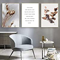 3 Panel Paintings Wall Art Modern Posters And Prints Picture Plant Leaves Nordic Style Wall Art Canvas Painting Quotes Living Room Home Decoration 50*70Cm*3 With Frame