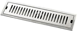 FITYLE Stainless Steel Floor Drain Linear Bathroom Kitchen Wet Room Shower Drain Reversible Tile Insert & Flat Grate - 40cm