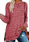 OMZIN Blusa de manga larga y cuello redondo para mujer, estilo túnica, elegante, asimétrico, con costuras decorativas, para otoño y primavera, tallas S-XXL A-rojo. XL