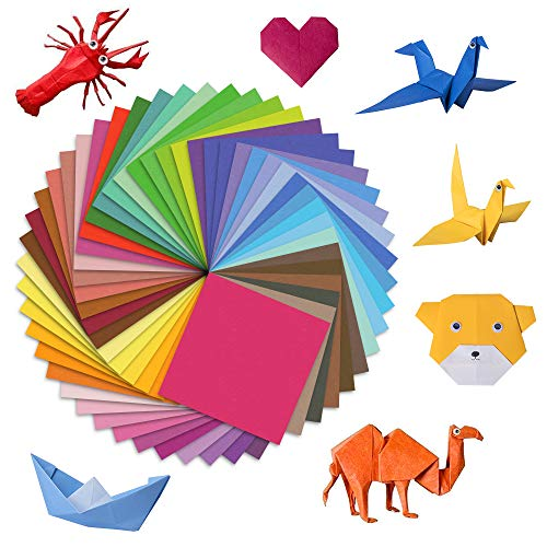 Origami Papier, Farben Faltpapier 200 Blatt für Weihnachten Origami DIY Kunst und Bastelprojekte, inklusive 100 x Wackelaugen, 50 Verschiedene Farbe(15 x 15 cm)