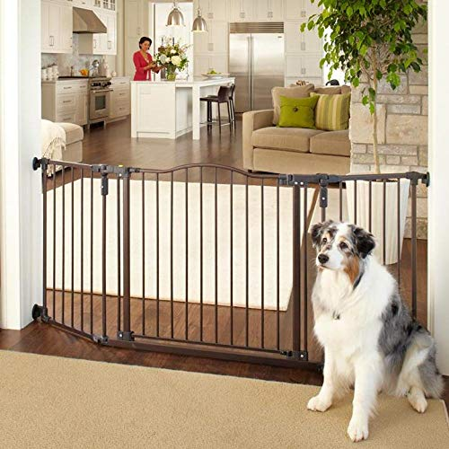 North States MyPet 72' Extra-Wide Windsor Arch Gate: Provides safety in extra-wide spaces. Hardware Mount. Fits 38.3'-72' wide (30' tall, Matte Bronze)