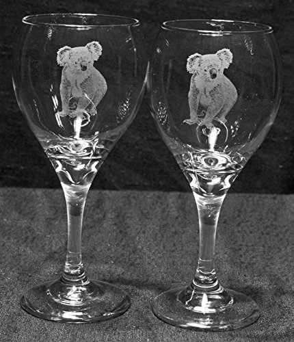 Koala Etched Wineglasses