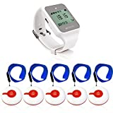 Retekess TD108 Wrist Pager System,Caregiver Pager,Smart Call Button,Max 999,72h Standby,1 Watch Receiver,5 Panic Buttons for Elderly,Patient,Resident