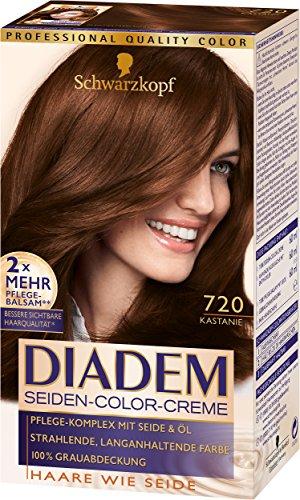 Schwarzkopf Diadem Seiden-Color-Creme, 720 Kastanie Stufe 3, 3er Pack (3 x 180 ml)