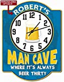 Personalized Beer Thirty Light Blue Garage Hardboard Clock Sign From Redeye Laserworks
