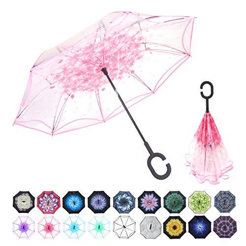 Guarda-chuva invertido de camada dupla para lavagem de carros, guarda-chuva reverso, guarda-chuva grande e reto, à prova de vento, com proteção UV, para carro, chuva, ao ar livre, com alça em formato de C, transparent pink-new