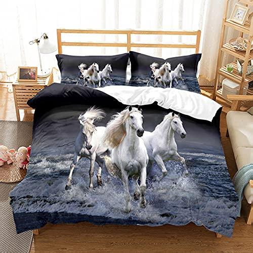 LXTOPN - Juego de cama 3D con diseño de caballo, 1/2 personas, diseño de flores, funda de edredón y funda de almohada, para niños y adultos (A,140 x 210)