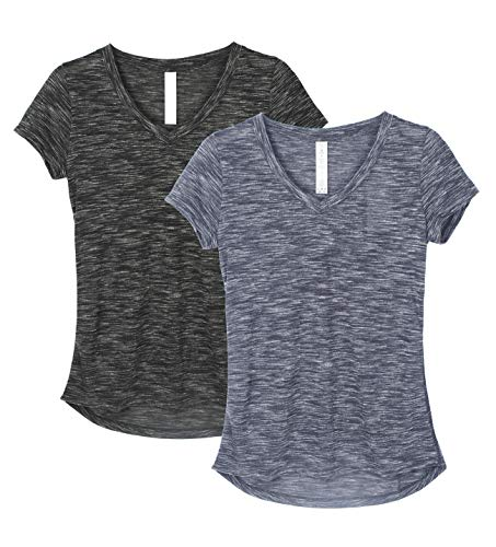icyzone Damen T-Shirt Kurzarm V-Ausschnitt Yoga Tops Casual Sport Shirt 2er Pack (XXL, Black/Navy)