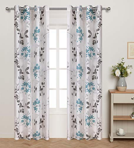 """Home Fashion Sheer Curtains Grommets Top Burnout Multicolor Leaf Print Window Treatment for Girls Bedroom Vintage Cute Leaves Floral Translucent Thin and Soft 54"""" Wide by 84"""" Long Set of 2 Blue Grey"""