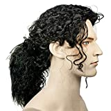 Black Curly Hair Wig, Curly Hair Ponytail, Michael Jackson Wig, Popstar MJ Costume, Men, Women, Kids